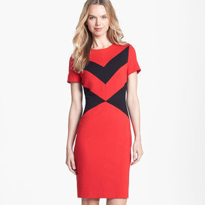 NWOTS Black & Red Zig Zag Panel Ponte Shift Dress